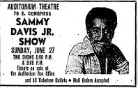 Ad for Sammy Davis Jr. at the Auditorium Theatre