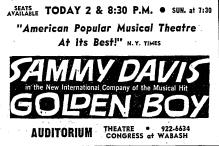 """An ad for Sammy Davis Jr. in """"Golden Boy"""""""