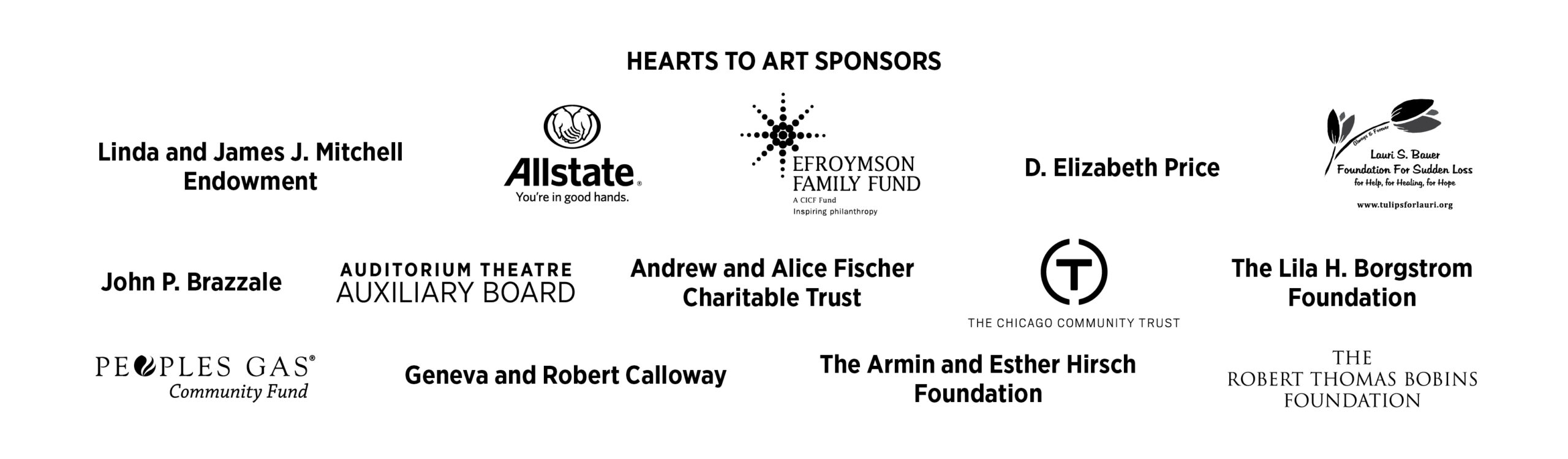 Hearts to Art Sponsors
